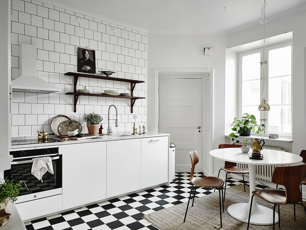 scandinavian kitchen with small dining spaces