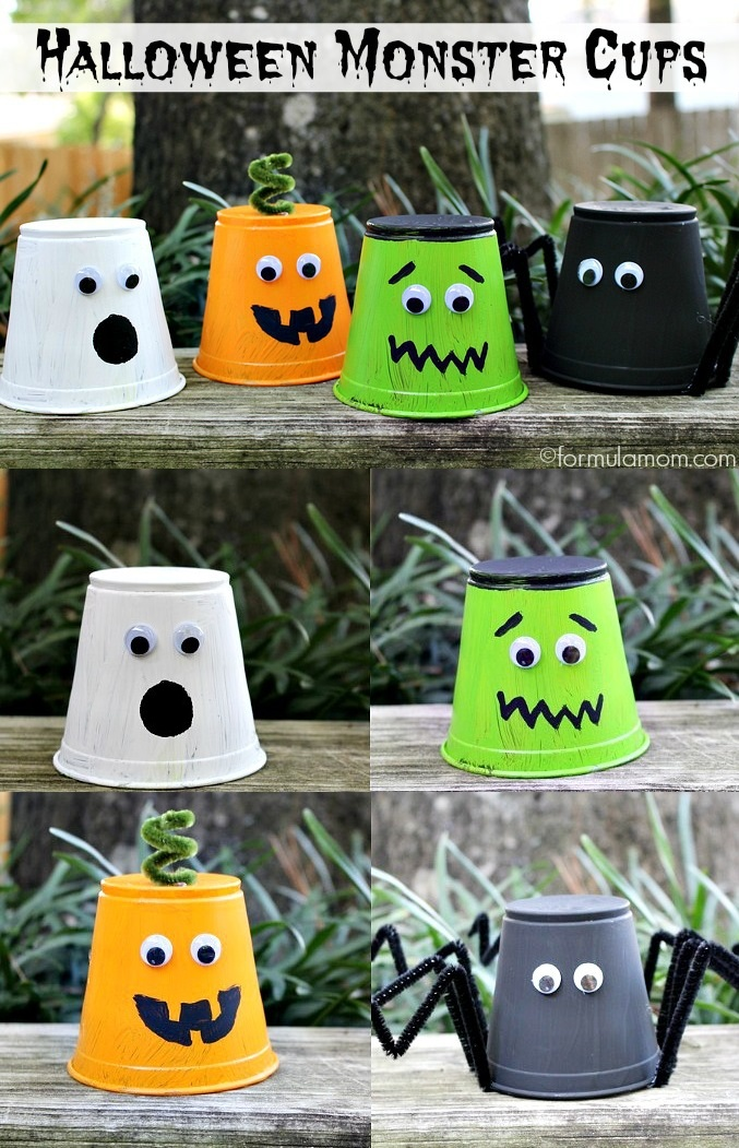 halloween crafts for kids monster cups by the simple parent - Cheap Halloween Decor Ideas