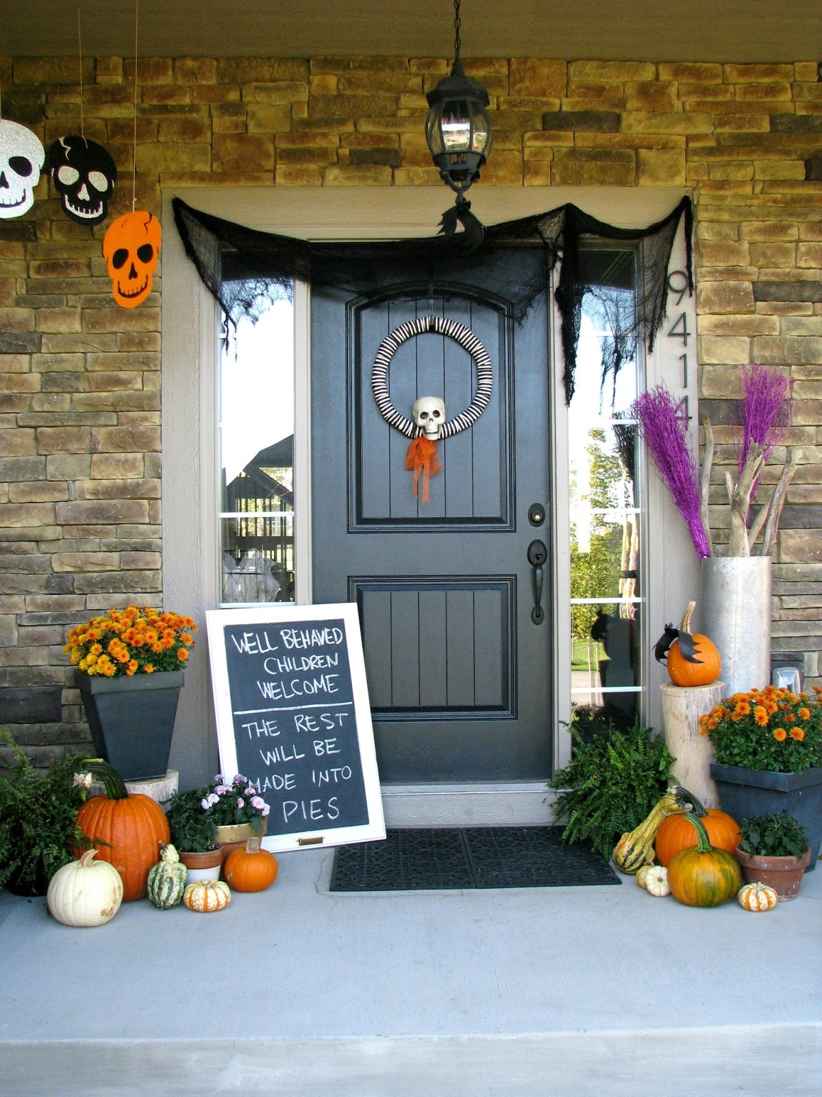 decorating ideas inspiring spooky skull spider pumpkin carving halloween decoration 6971201 cute halloween front porch decorations to greet your guests - Halloween Decoration Ideas For Outside