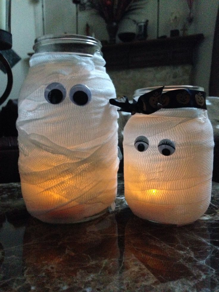 Mummy Halloween Craft Mason Jars