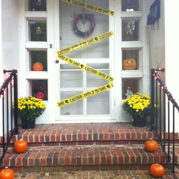 caution entrance halloween decor