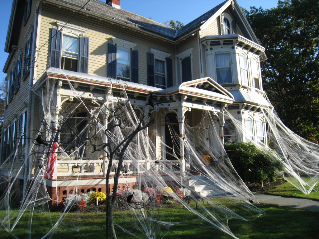 decorations incredible outdoor halloween spiderweb and flying ghosts haunted halloween house