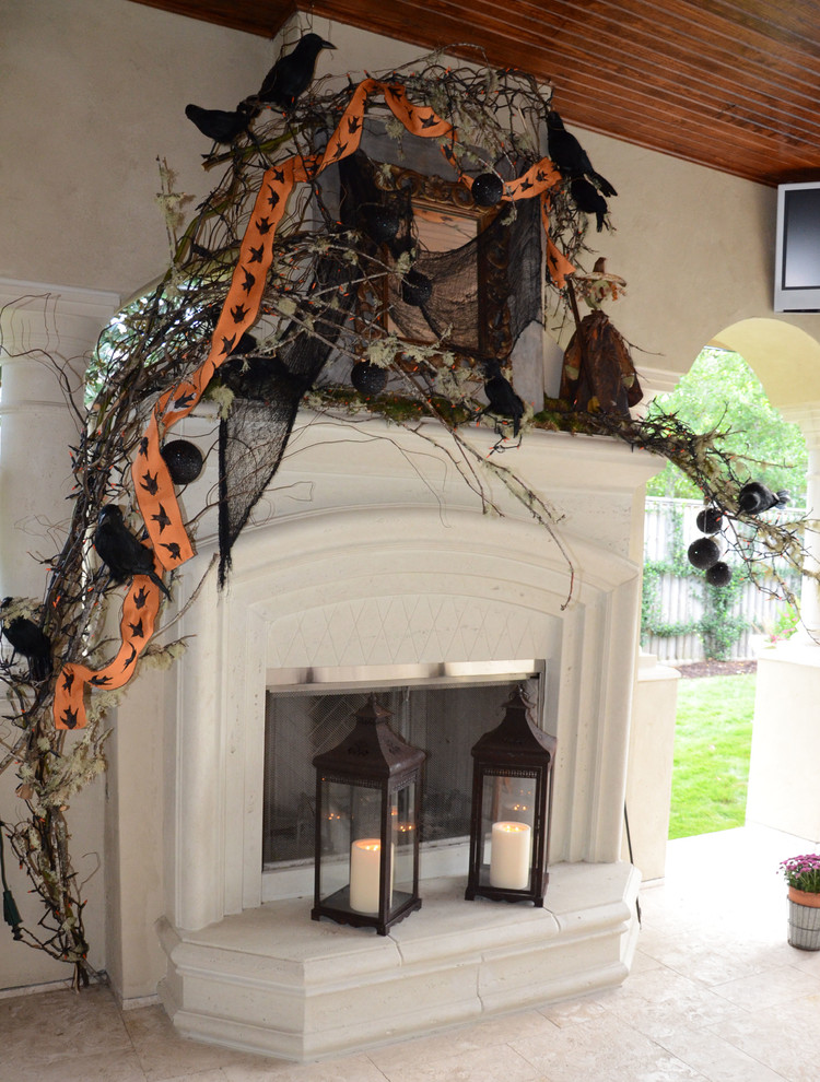 halloween decorations fireplace and mantel - Halloween Decor 2016