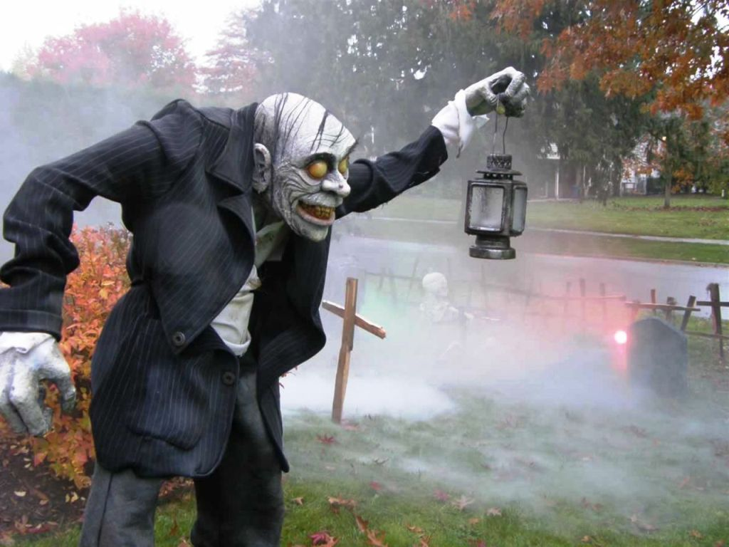 scary halloween yard decorations zombie iron lantern