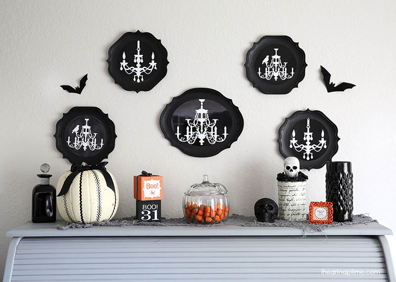 cute halloween decorations black and white