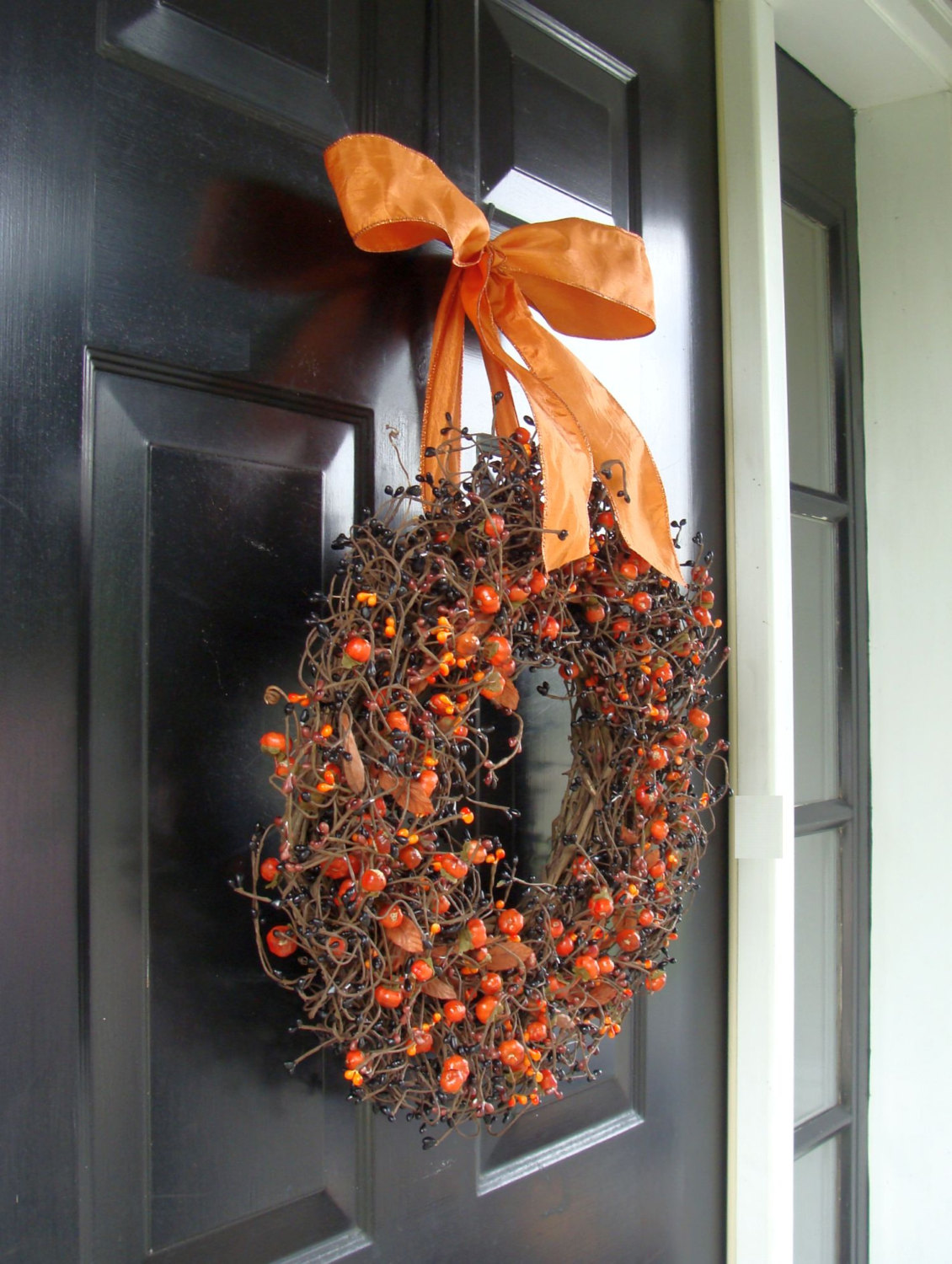 Front Door Halloween Wreath Decorating