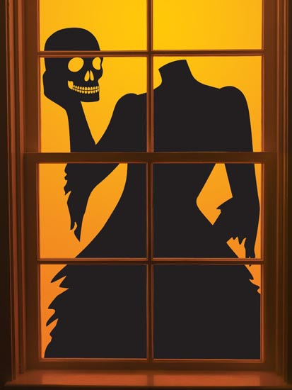 halloween window silhouettes template window decorations ideas to spook up your neighbors 22067 | Halloween Headless Lady silhouette window