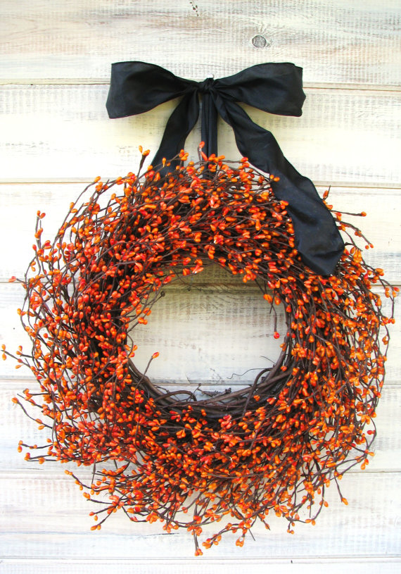 Halloween Wreath Orange Berry