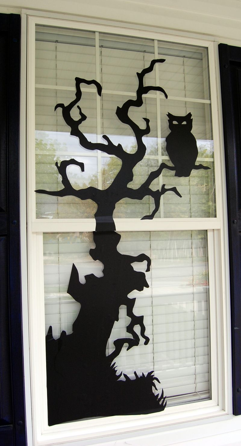 halloween window decorations Black