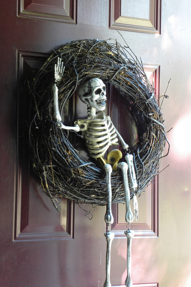 traditional spaces Skeleton porch front door halloween