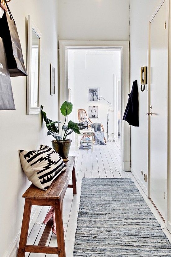 white walls hallway or entryway ideas decorate with plants