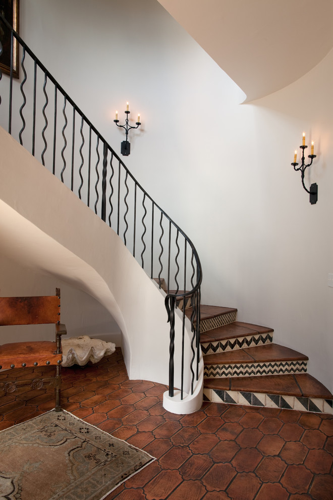 rustic spiral staircase black and white patterns