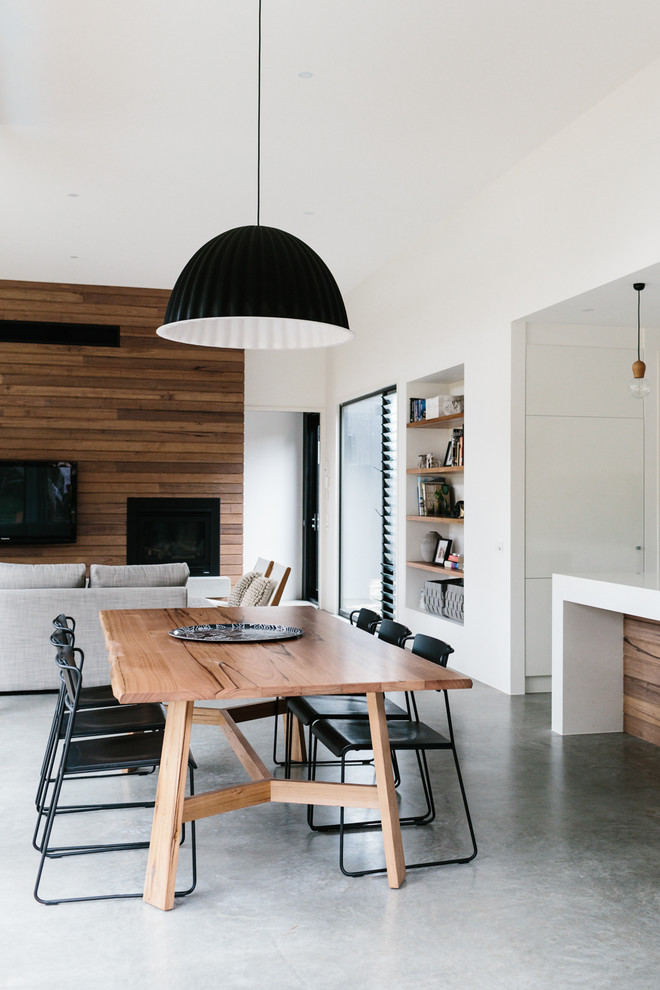 polished concrete floor kitchen and dining room