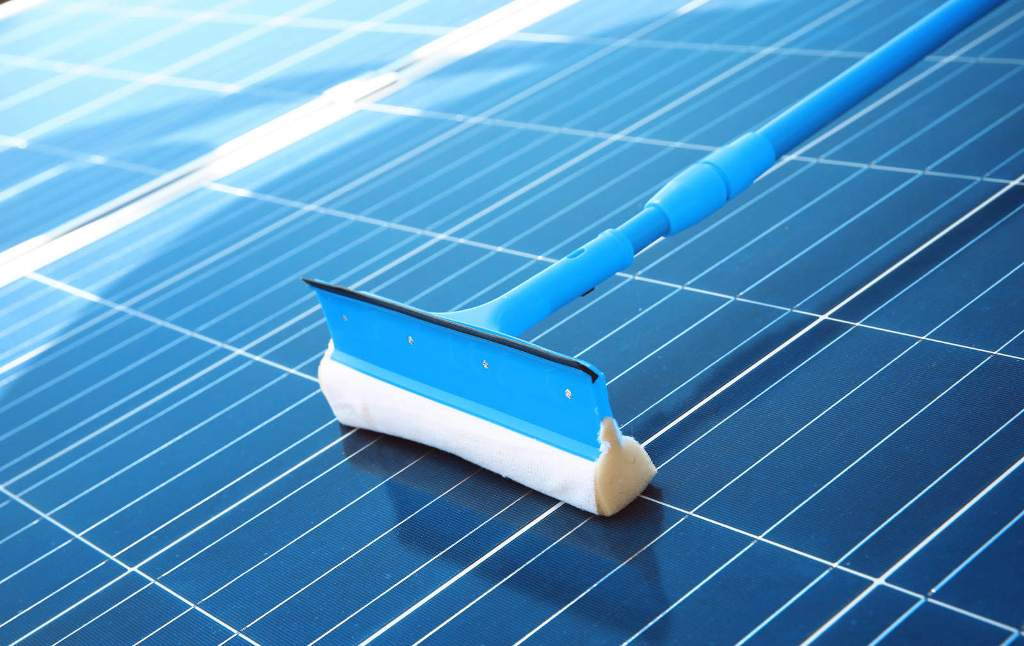 Clean Solar Panels surfaces with a Soft Brush Or a Sponge