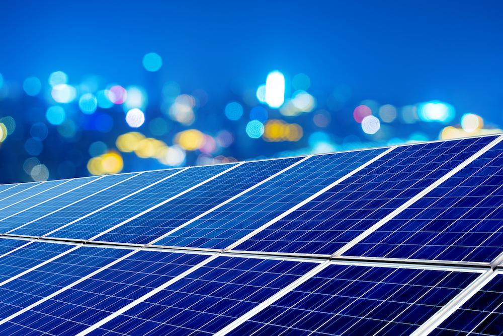 Photovoltaic panel at night
