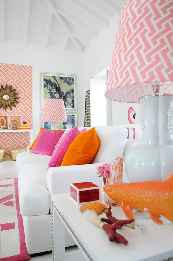 Orange, pink and white home decor