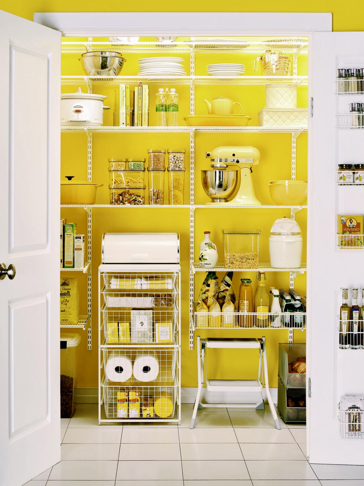 Set an energetic mood in your kitchen with a lively color in your pantry.