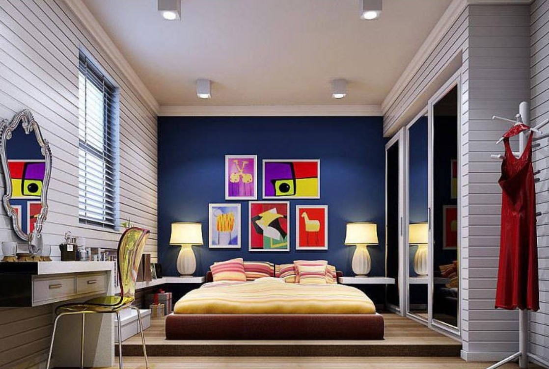 Dark blue background wall for modern bedroom