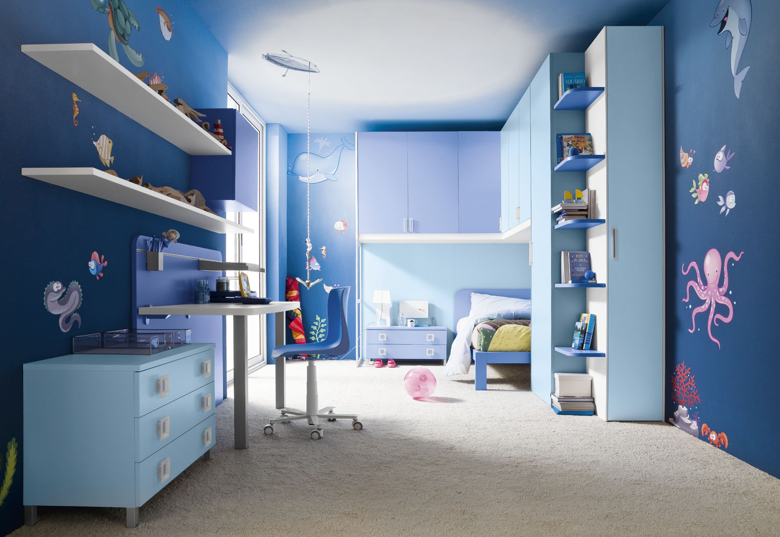 amusing blue boys bedroom with single beds complete pillows idea