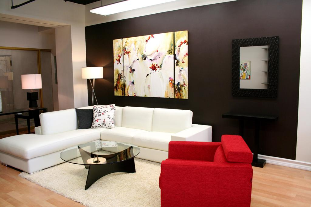 extraordinary best contemporary living room ideas with abstract painting plus small mirror in gray colors wall decors along with sweet white sofas plus red sin