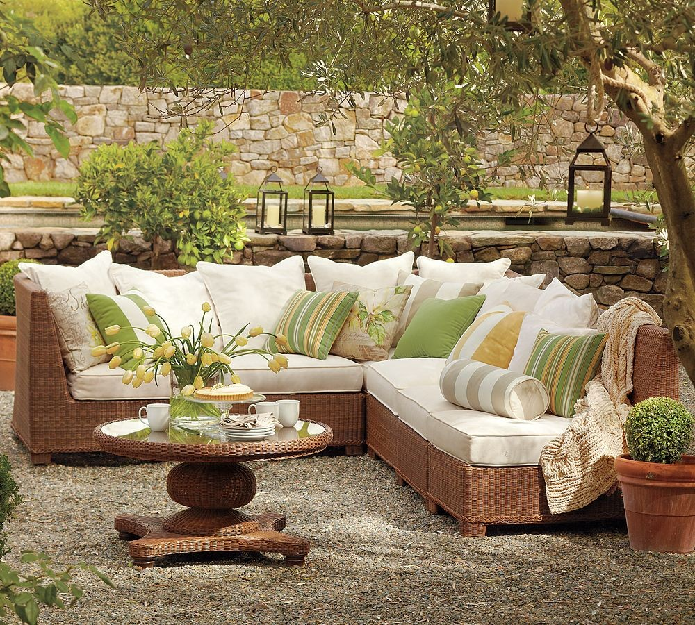 pottery barn outdoor green and beige furniture