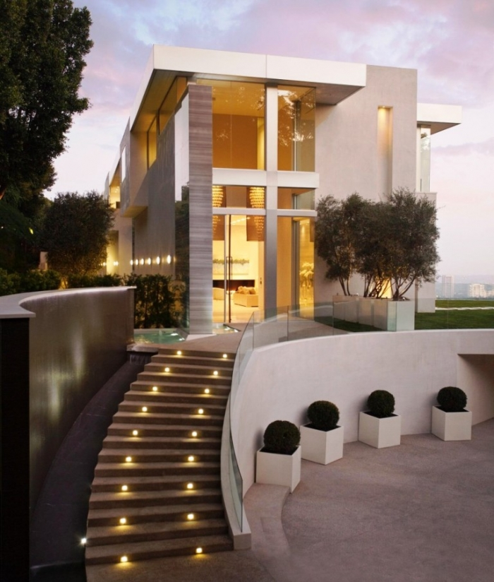 Exterior Design with Modern Outdoor Staircase and Used Modern Lighting Design Ideas