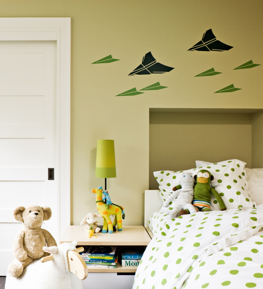 kids room with polka dot pillow covers