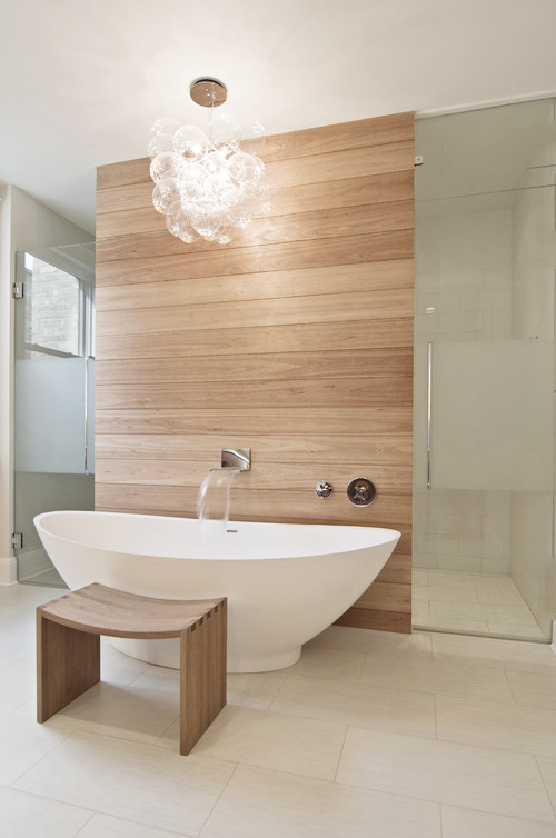 White tub wood wall bathroom lamp