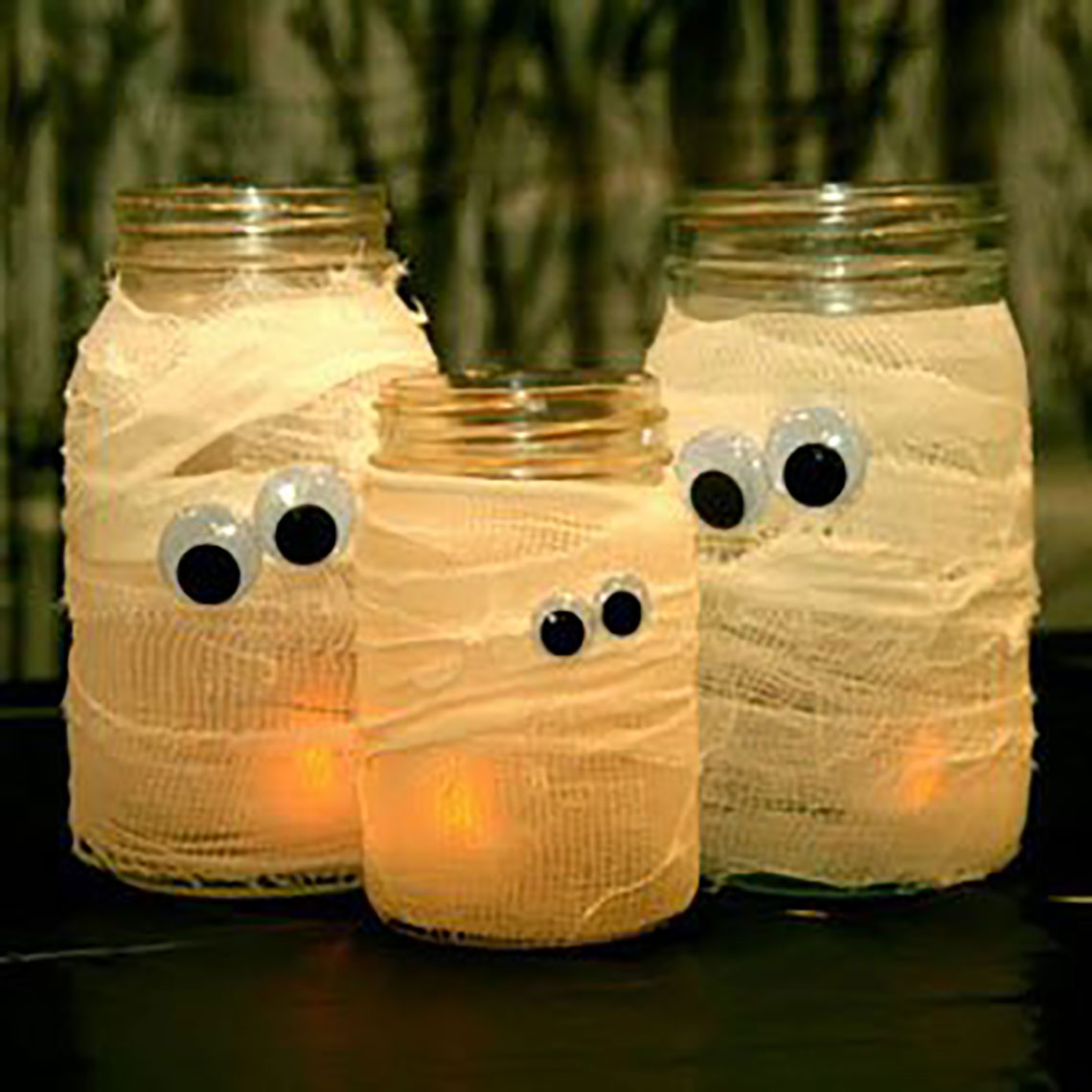 Halloween candle mummy mason jars