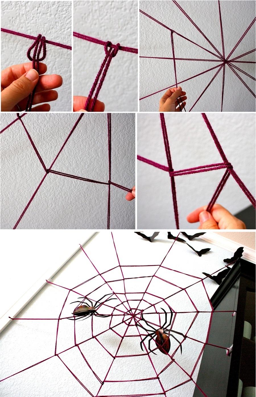 Creating the DIY yarn spider web