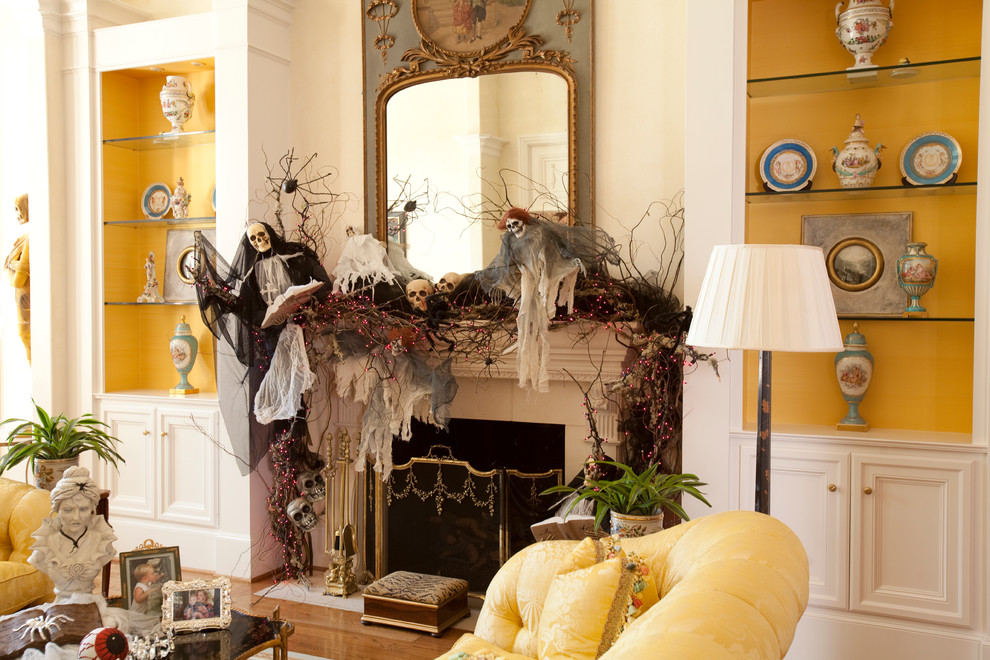 Fireplace Halloween skulls skeletons and branches