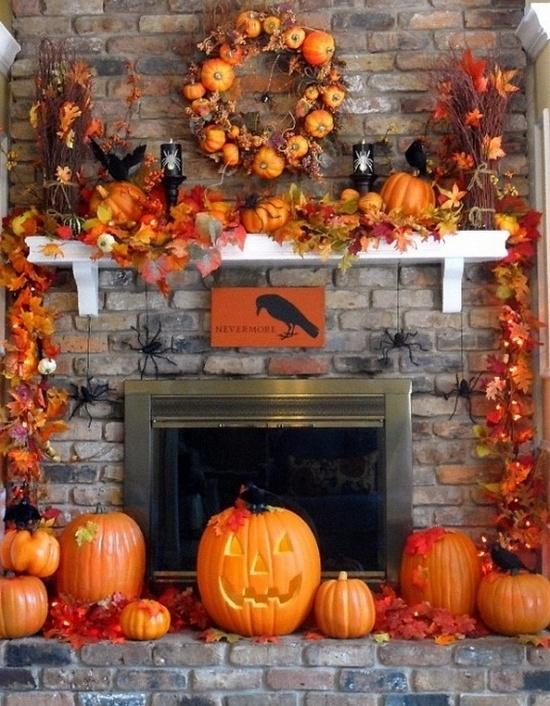 Halloween Decorations Fireplace mantel
