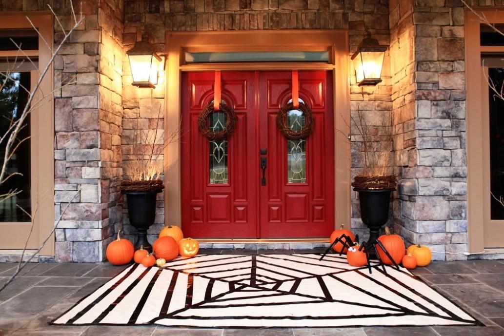 Halloween Red Door Front Porch Decorations