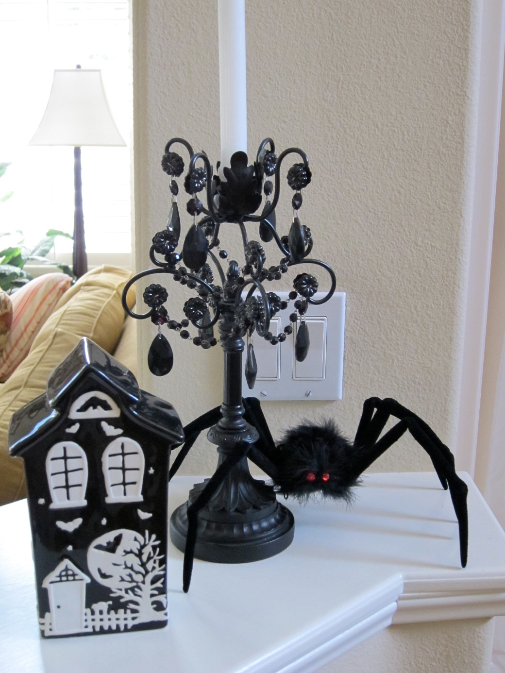 White and black halloween decorations