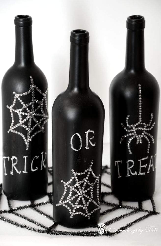 Wine Bottles on Spider Web