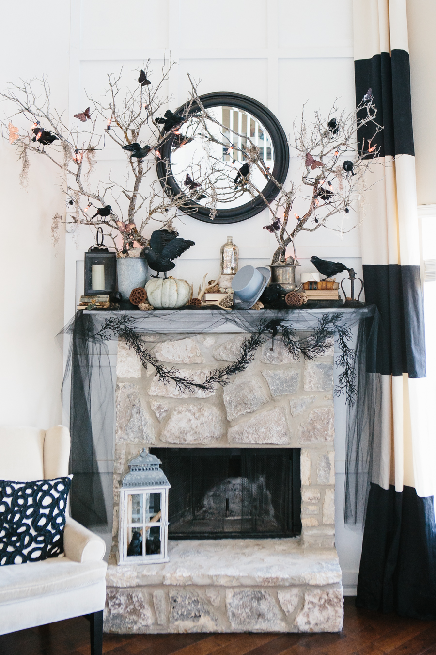 halloween fireplace mantel rustic stacked stone soft black