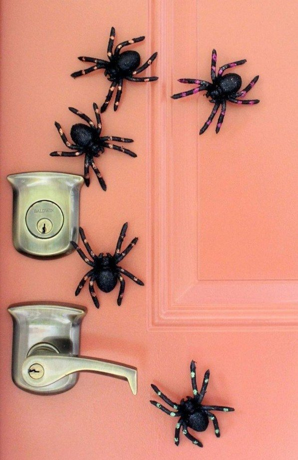 quick Homemade halloween decorations front door plastic spiders