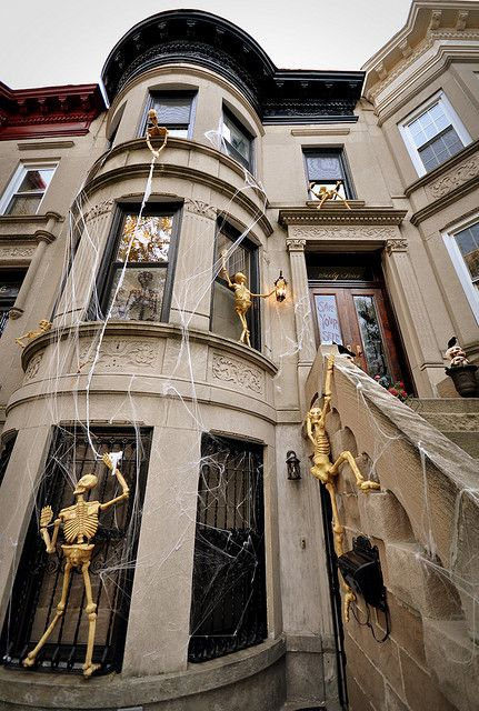 Gold skeleton decorations window Halloween