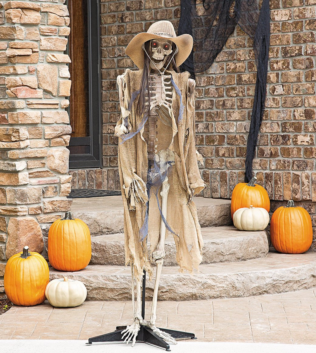 Halloween skeleton decorations yard front entry door