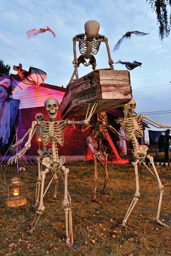 surfing skeleton halloween decoration outdoor