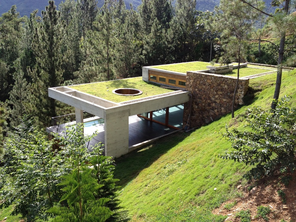 modern underground house in nature